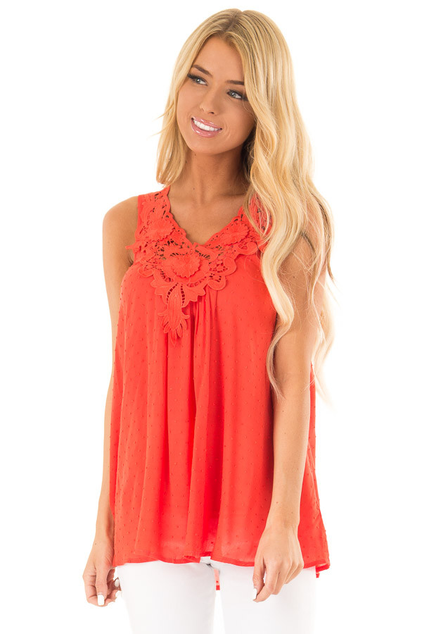 Scarlet Swiss Dot V Neck Tank Top with Floral Lace Detail front close up