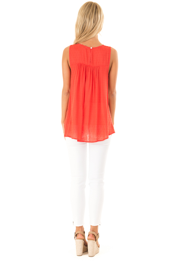 Scarlet Swiss Dot V Neck Tank Top with Floral Lace Detail back full body