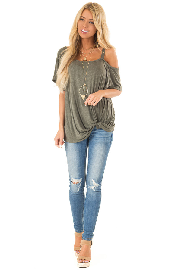 Dark Olive Cold Shoulder Top with Front Twist front full body