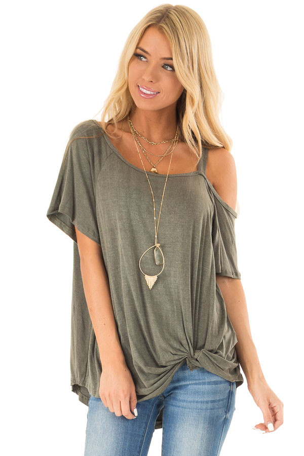 Dark Olive Cold Shoulder Top with Front Twist front close up