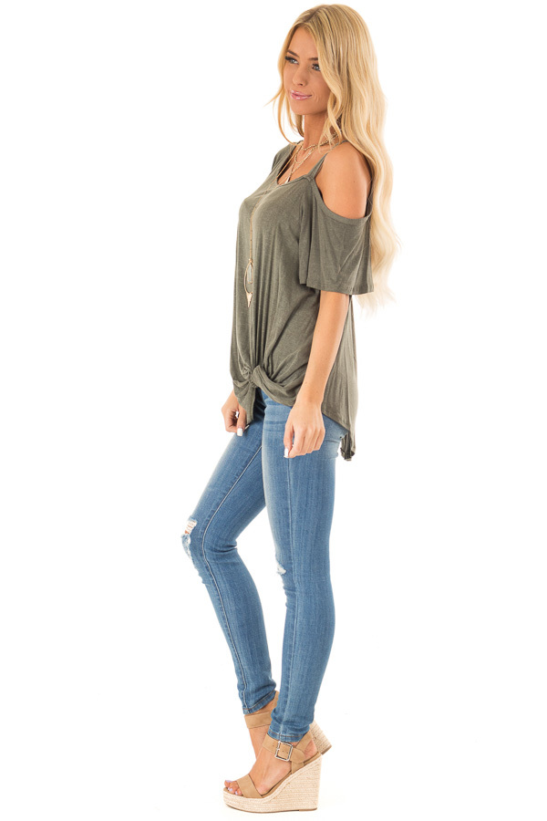 Dark Olive Cold Shoulder Top with Front Twist side full body