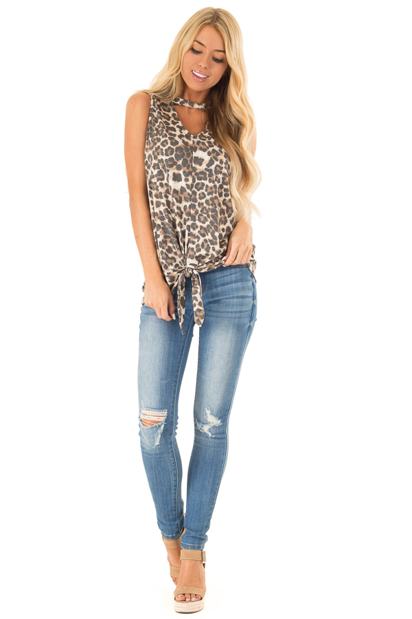 Mocha Sleeveless Leopard Print Tank Top with Chest Cutout front full body
