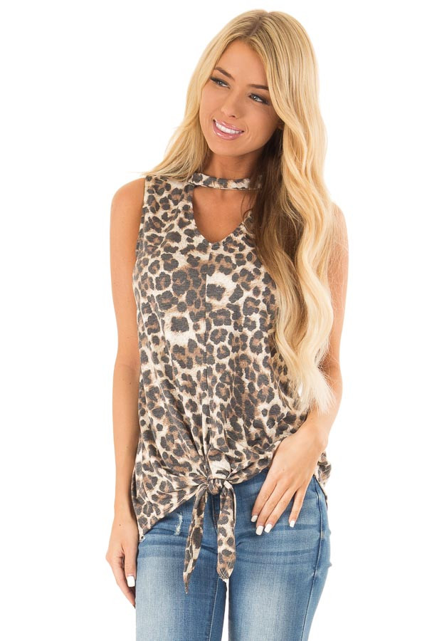 Mocha Sleeveless Leopard Print Tank Top with Chest Cutout front close up