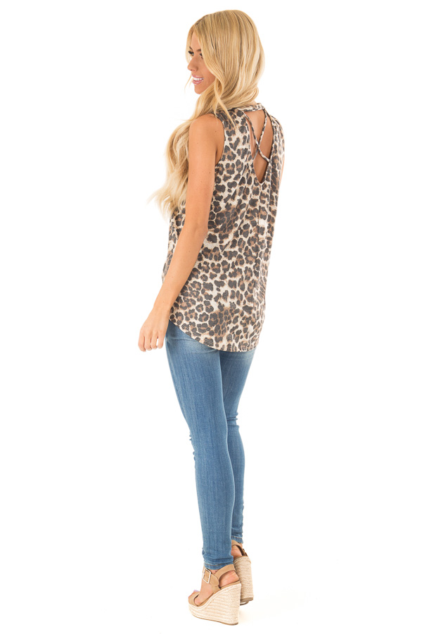 Mocha Sleeveless Leopard Print Tank Top with Chest Cutout side full body
