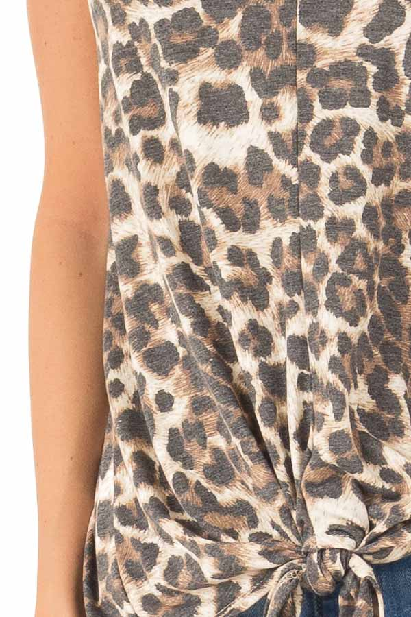 Mocha Sleeveless Leopard Print Tank Top with Chest Cutout detail