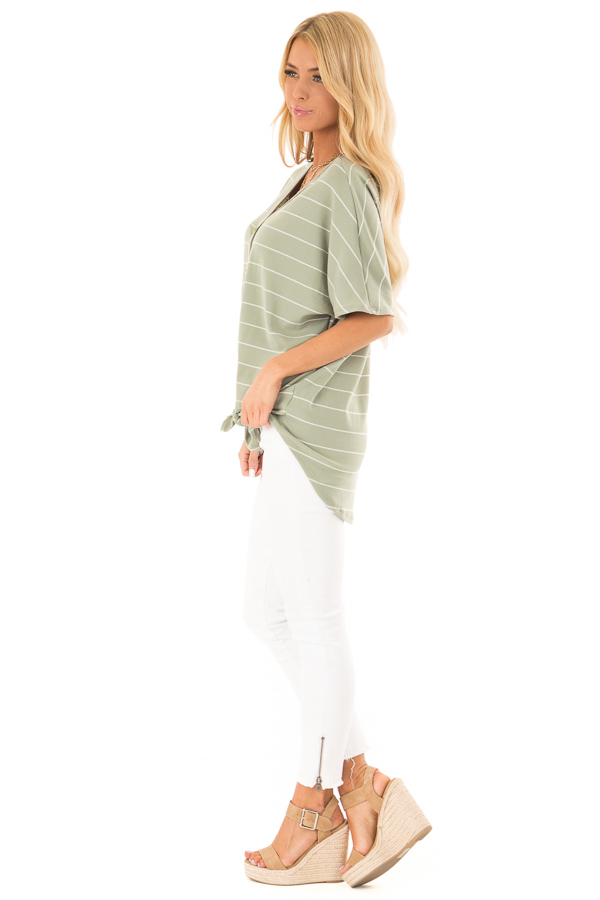 Faded Sage and Ivory Striped Button Up Top side full body