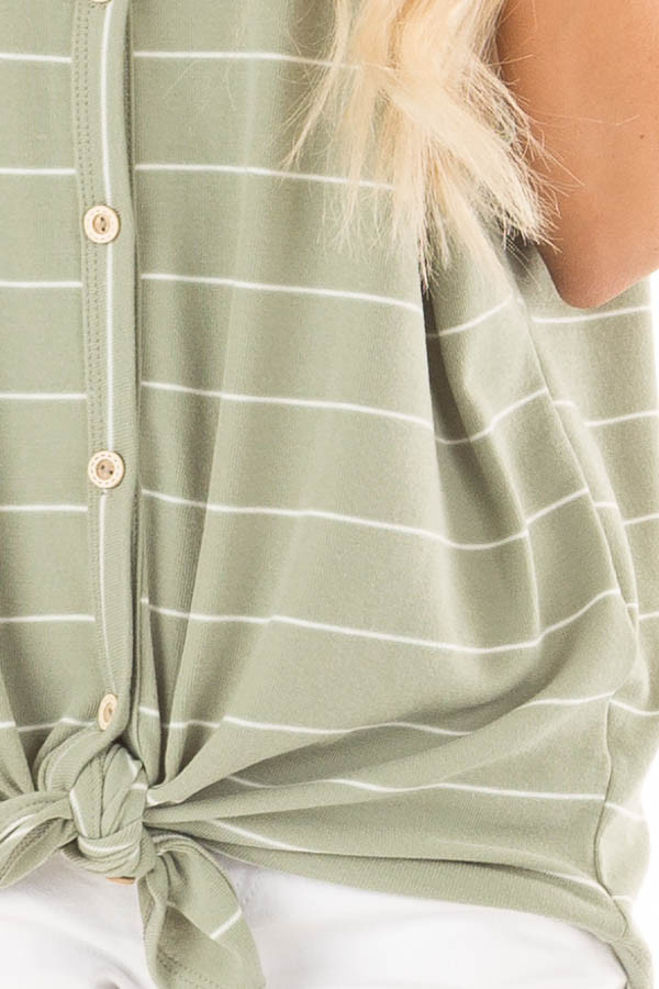 Faded Sage and Ivory Striped Button Up Top detail