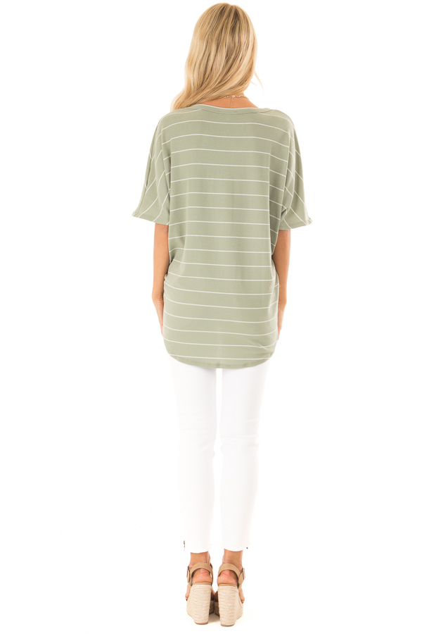 Faded Sage and Ivory Striped Button Up Top back full body