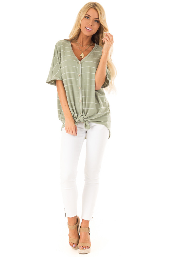 Faded Sage and Ivory Striped Button Up Top front full body