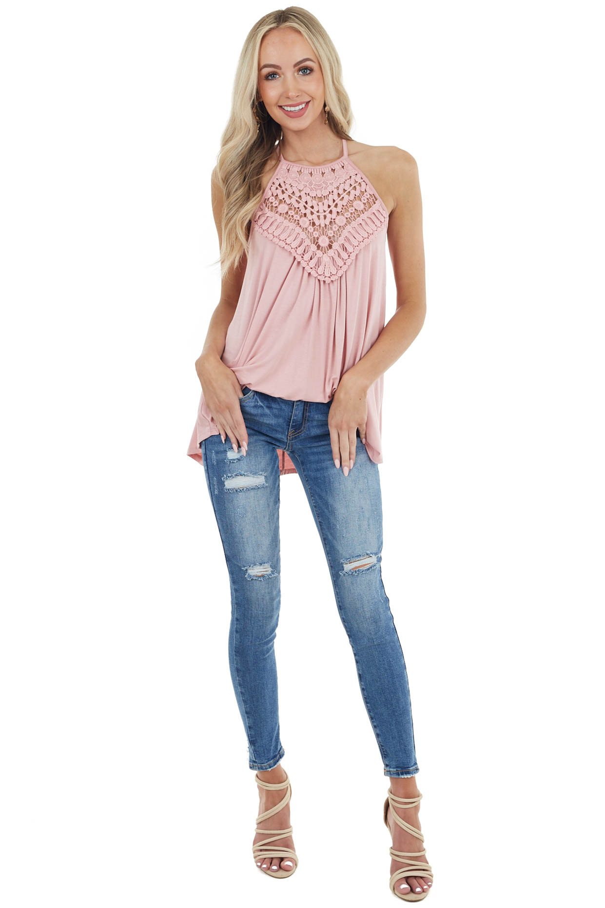 Petal Pink Tank Top with Sheer Lace Chest