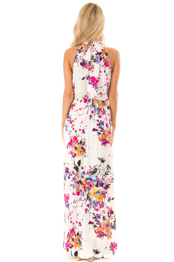 Cream Floral Print Halter Maxi Dress with Tie Back Detail back full body