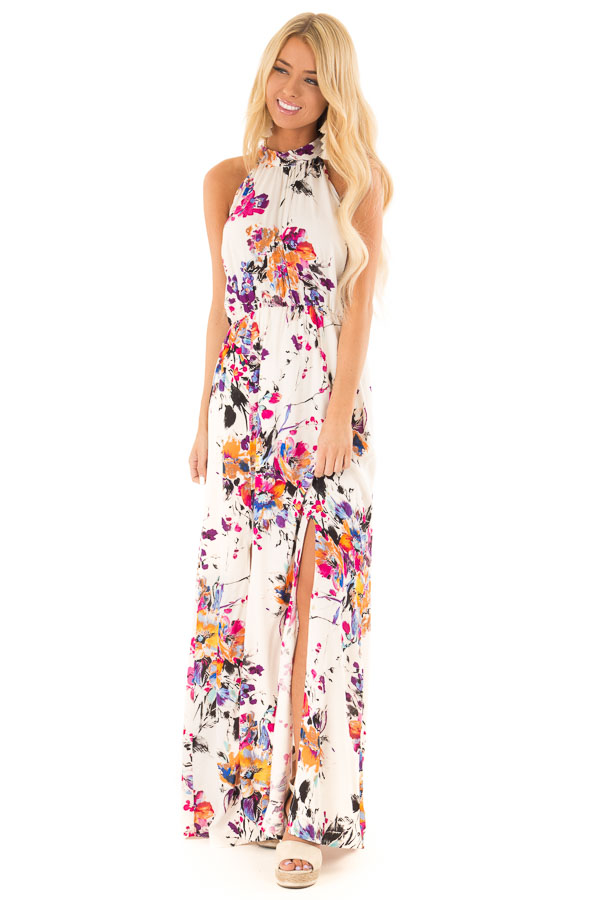 Cream Floral Print Halter Maxi Dress with Tie Back Detail front full body