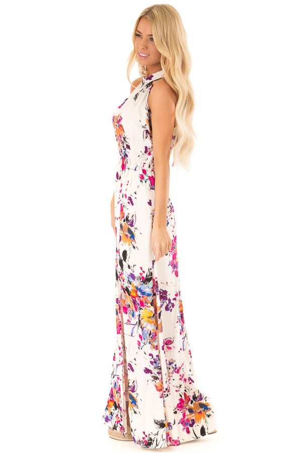 Cream Floral Print Halter Maxi Dress with Tie Back Detail side full body