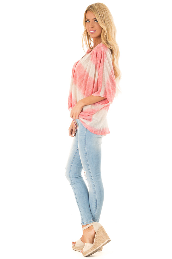 Coral and Cream Striped V Neck Top with Front Twist side full body