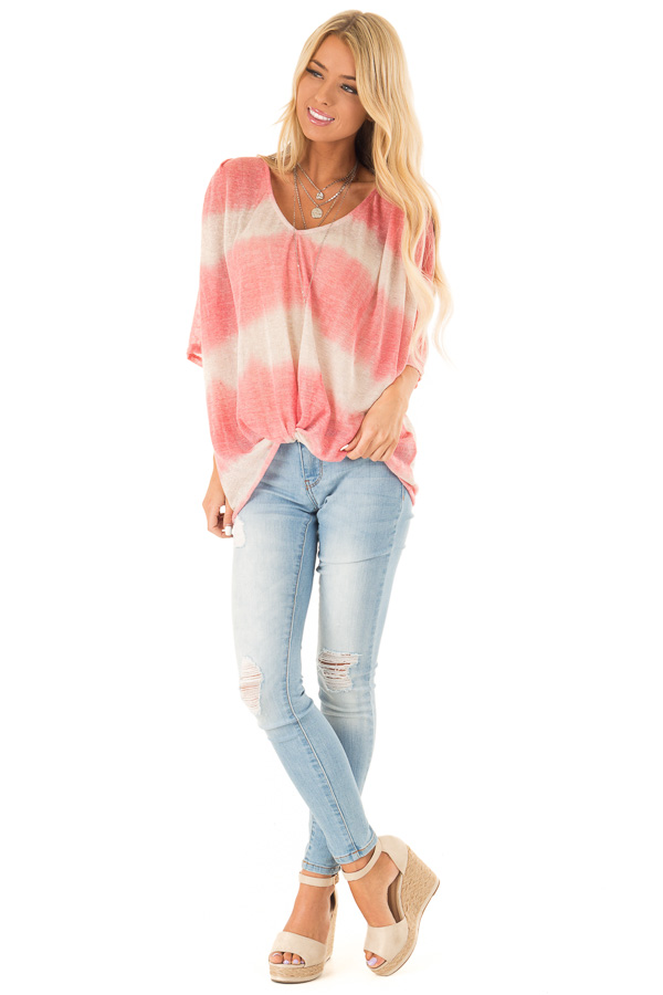Coral and Cream Striped V Neck Top with Front Twist front full body