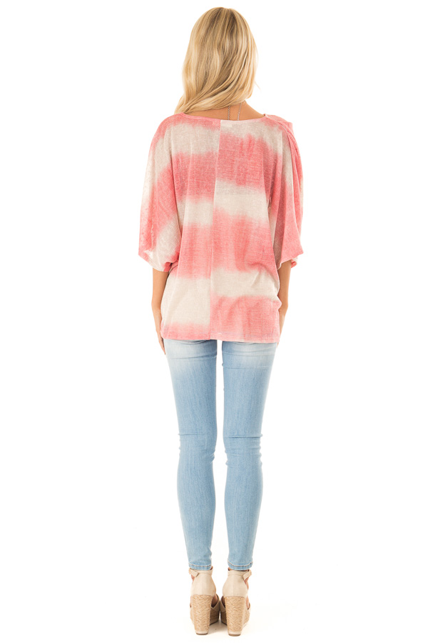 Coral and Cream Striped V Neck Top with Front Twist back full body