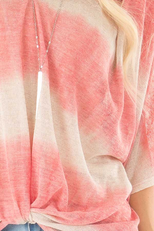 Coral and Cream Striped V Neck Top with Front Twist detail