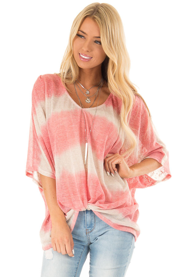 Coral and Cream Striped V Neck Top with Front Twist front close up