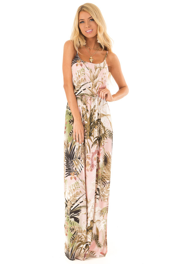 Baby Pink Tropical Print Spaghetti Strap Maxi Dress front full body
