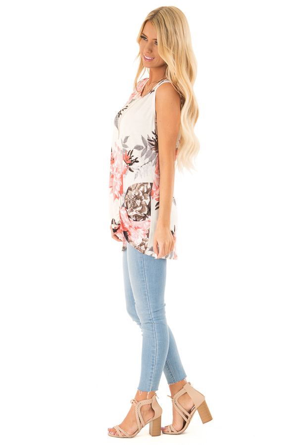 Off White Floral Print Tank Top with Front Twist Detail side full body