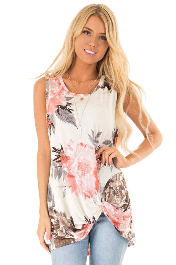 Off White Floral Print Tank Top with Front Twist Detail front close up