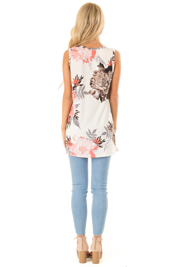 Off White Floral Print Tank Top with Front Twist Detail back full body