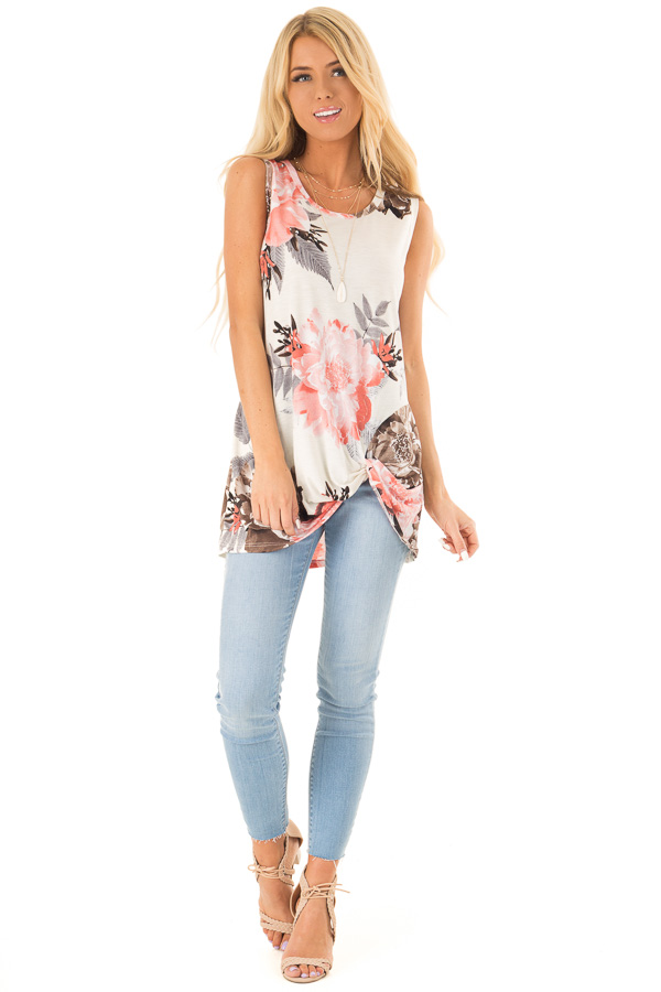 Off White Floral Print Tank Top with Front Twist Detail front full body