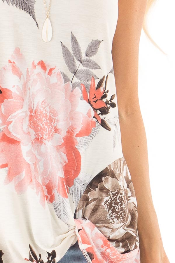 Off White Floral Print Tank Top with Front Twist Detail detail