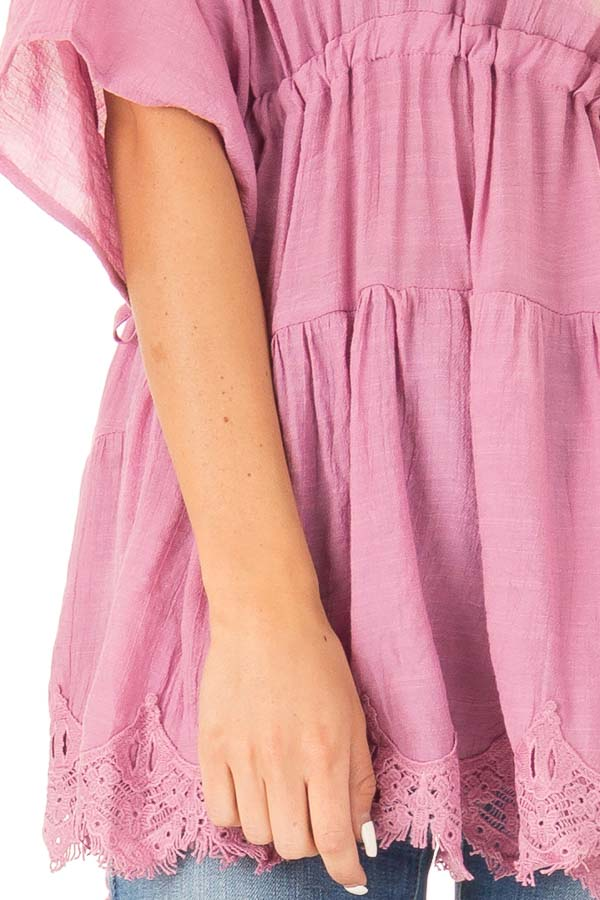 French Mauve Top with Tassel Tie Sides and Crochet Lace Hem detail