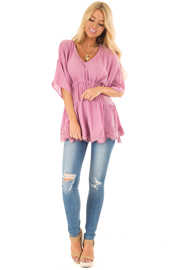 French Mauve Top with Tassel Tie Sides and Crochet Lace Hem front full body