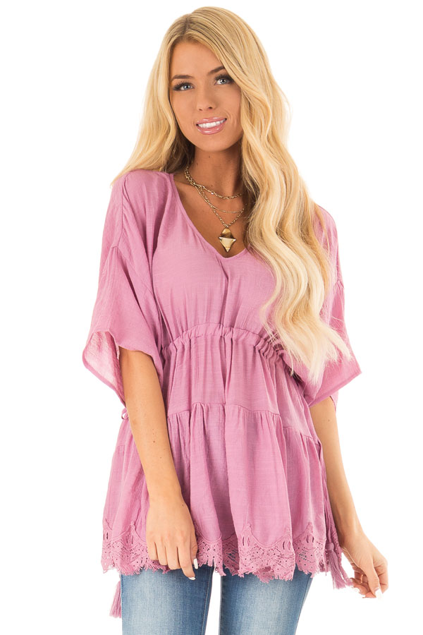 French Mauve Top with Tassel Tie Sides and Crochet Lace Hem front close up