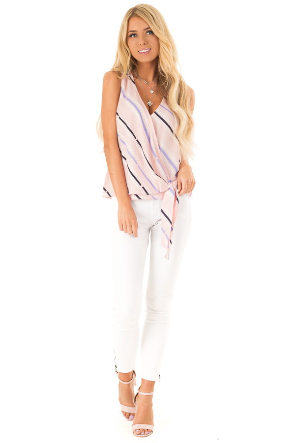 Baby Pink Striped Surplice Top with Side Tie front full body