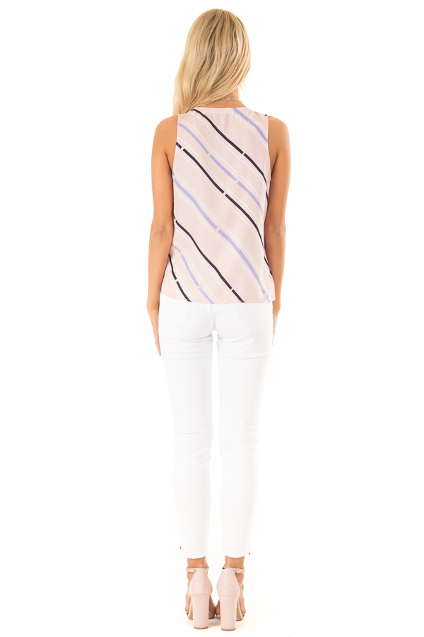 Baby Pink Striped Surplice Top with Side Tie back full body