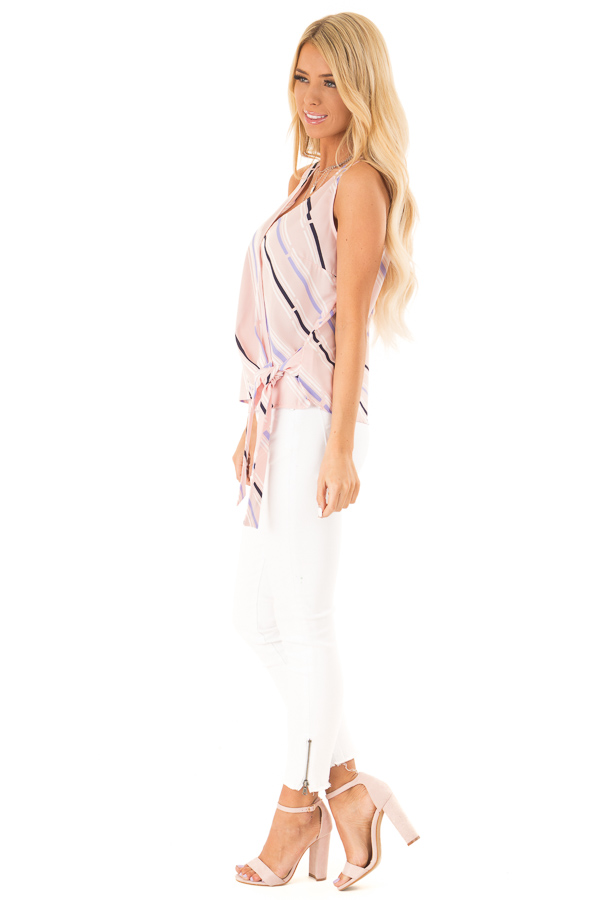 Baby Pink Striped Surplice Top with Side Tie side full body