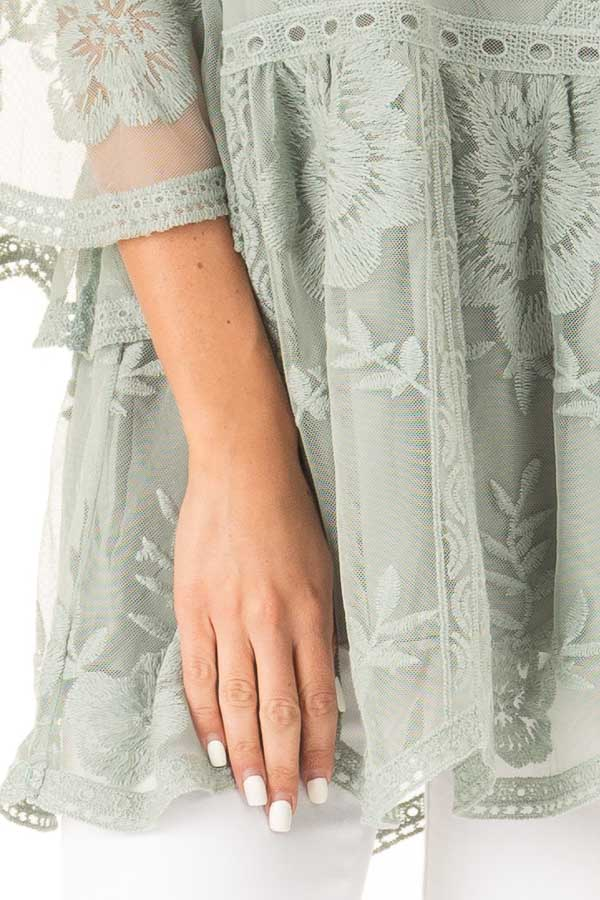 Faded Sage Floral Lace Top with Sheer 3/4 Length Sleeves detail