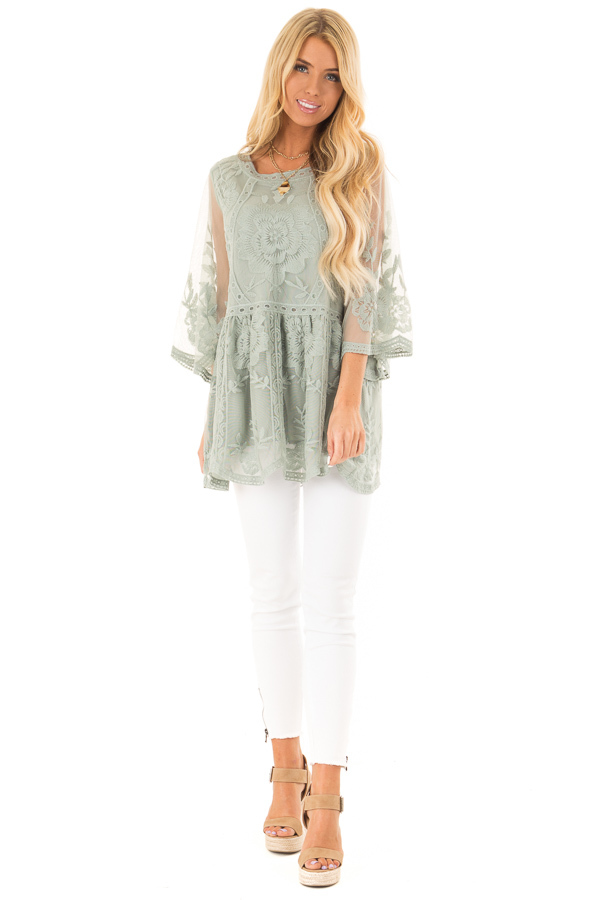 Faded Sage Floral Lace Top with Sheer 3/4 Length Sleeves front full body