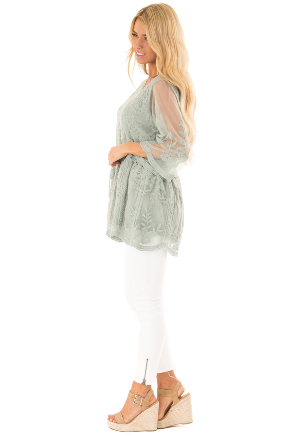 Faded Sage Floral Lace Top with Sheer 3/4 Length Sleeves side full body