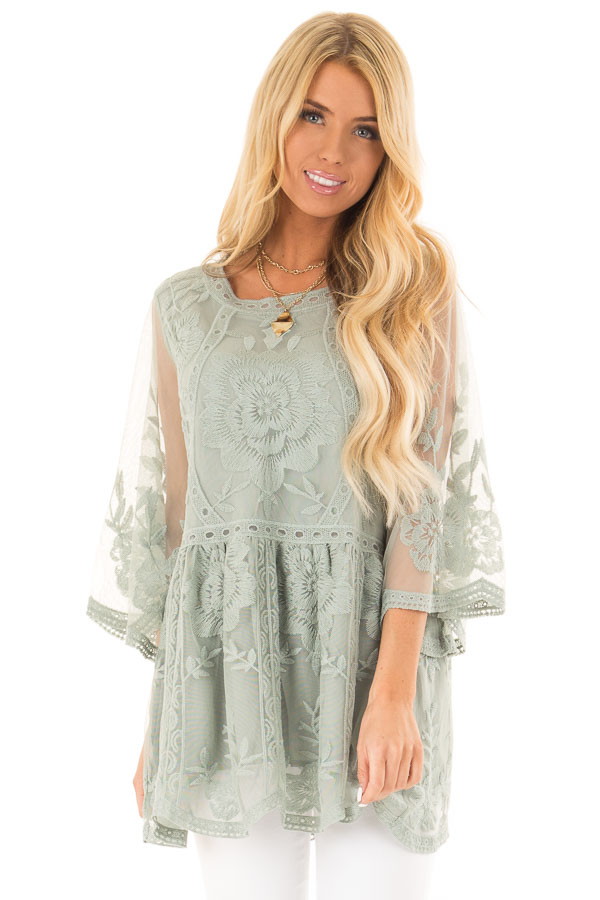 Faded Sage Floral Lace Top with Sheer 3/4 Length Sleeves front close up