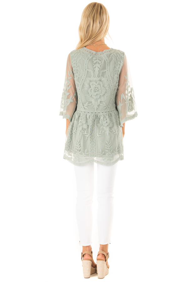 Faded Sage Floral Lace Top with Sheer 3/4 Length Sleeves back full body