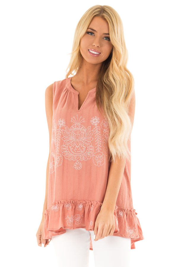 Salmon Sleeveless Top with Floral Print and Ruffle Hemline front close up
