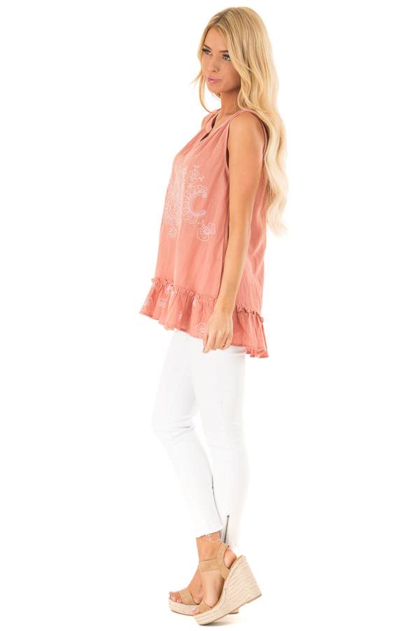 Salmon Sleeveless Top with Floral Print and Ruffle Hemline side full body