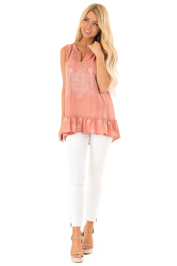 Salmon Sleeveless Top with Floral Print and Ruffle Hemline front full body