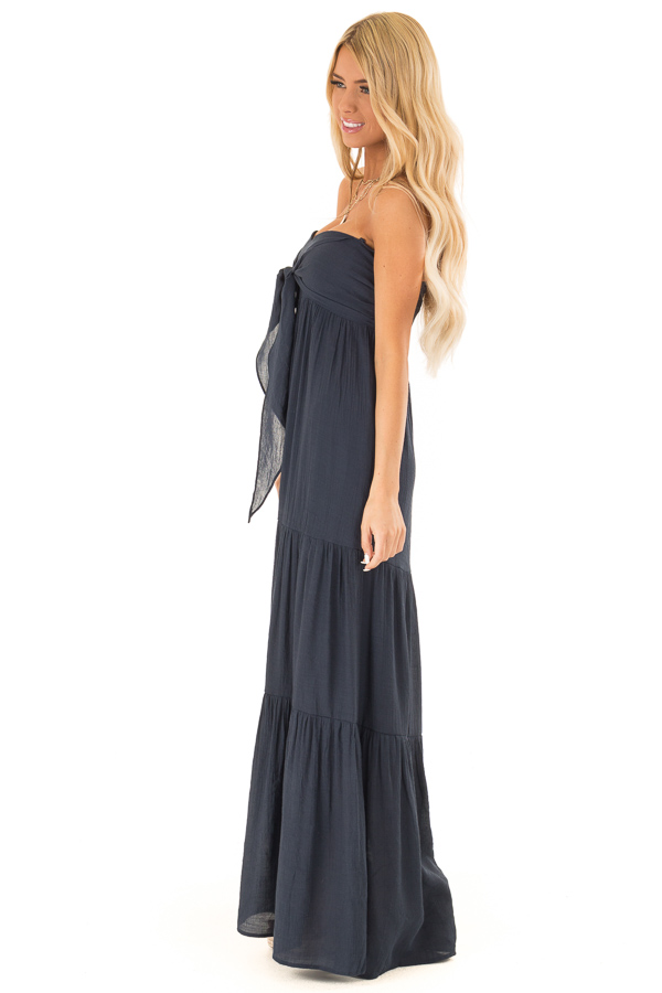Midnight Navy Tiered Maxi Dress with Front Tie Detail side full body