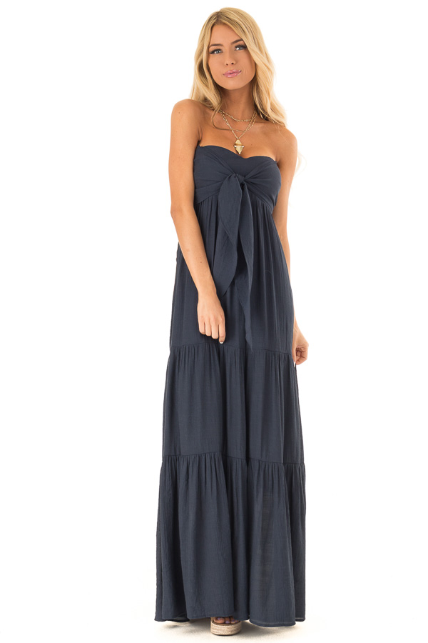 Midnight Navy Tiered Maxi Dress with Front Tie Detail front full body