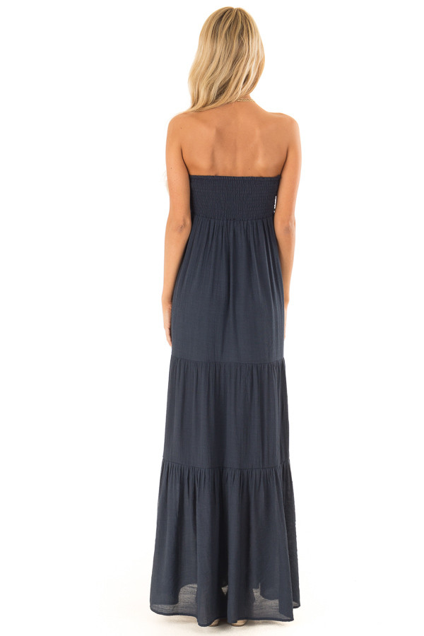 Midnight Navy Tiered Maxi Dress with Front Tie Detail back full body