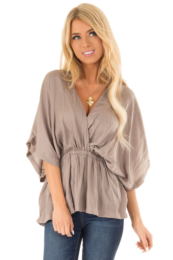 Taupe V Neck Surplice Top with Elastic Waistband front close up