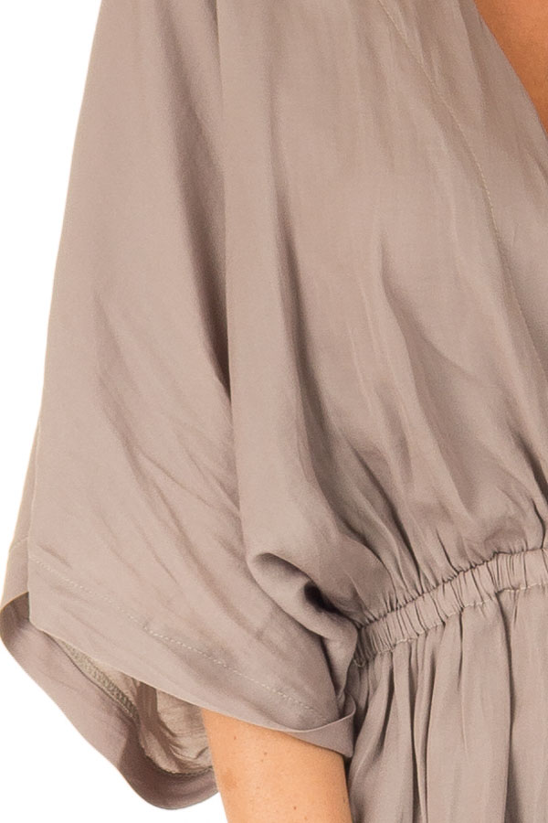 Taupe V Neck Surplice Top with Elastic Waistband detail