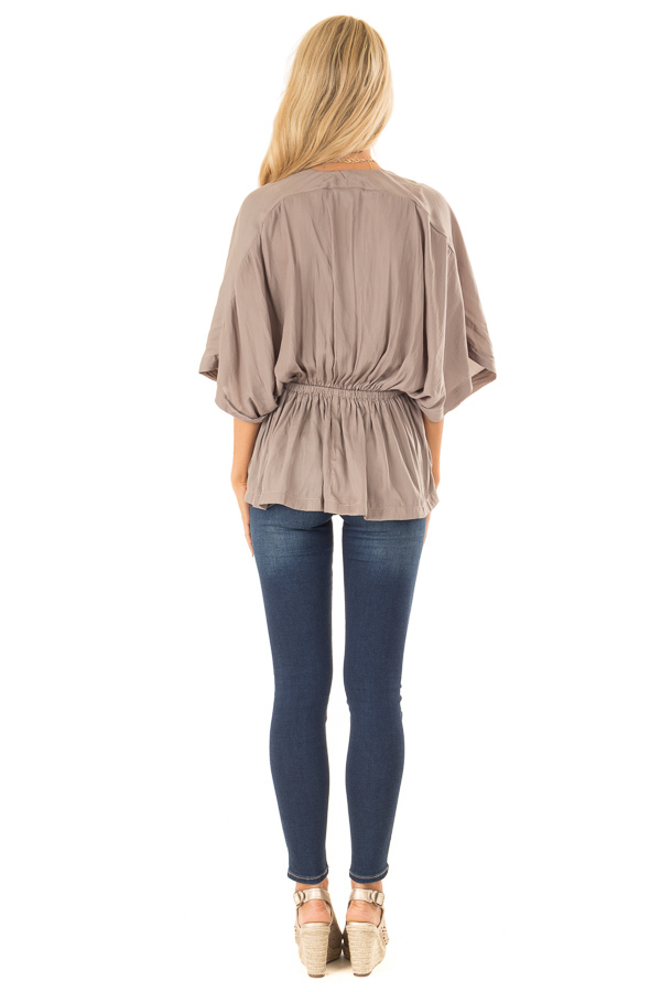 Taupe V Neck Surplice Top with Elastic Waistband back full body