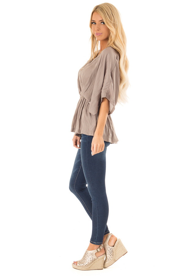 Taupe V Neck Surplice Top with Elastic Waistband side full body