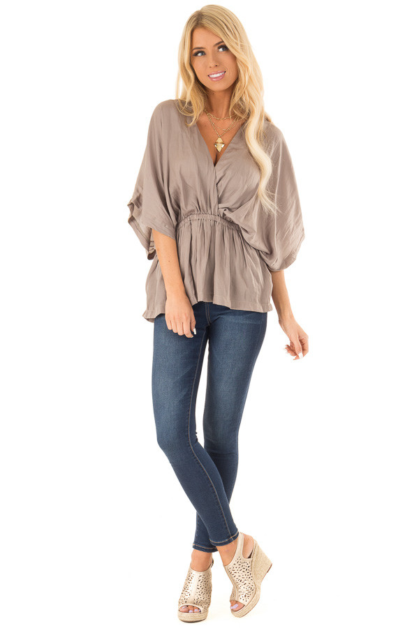 Taupe V Neck Surplice Top with Elastic Waistband front full body
